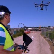 drones sobre zonas industriales